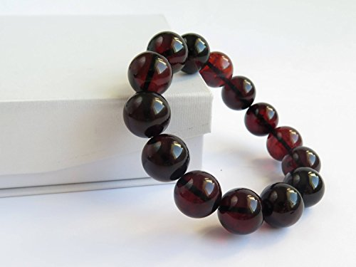 Cherry Red Baltic Amber Beaded Bracelet, 28.95 g of Pure Amber, 15 mm Polished Ruby Amber Beads, Cherry Amber Round Massive Bracelet