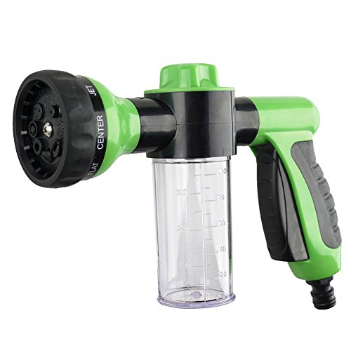 KSM UP Adjustable Hose Spray Nozzle High Pressure 8 Patterns With Soap Dispenser Suitable for Car Washing, Garden Watering, Pets Showering