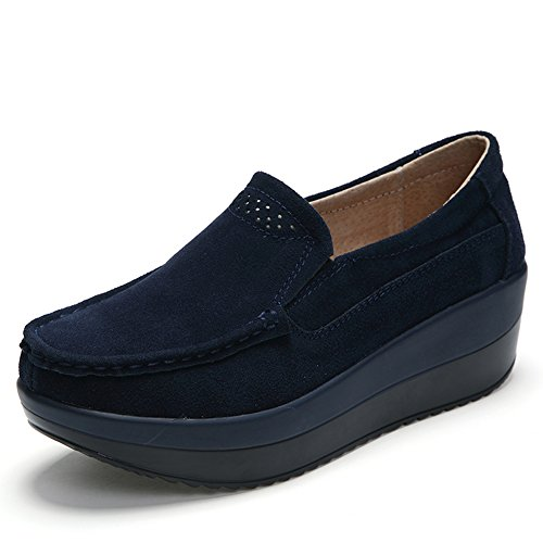 HKR-GF828-1shenlan38 Women Loafers Slip On Platform Sneakers Comfort Suede Driving Moccasins Shoes Dark Blue 7 B(M) US (Platforms Blue)