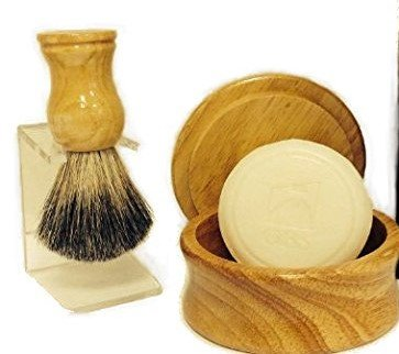 Men's Grooming Set with Light Wood Shaving Bowl, 100% Pure Badger Brush, Brush Stand and 97% All Natural GBS Ocean Driftwood Shave Soap – men's grooming Review