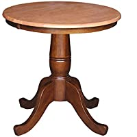 International Concepts 30-Inch Round by 30-Inch High Top Ped Table, Cinnemon/Espresso