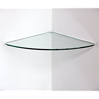 """Bluegate Inc Bathroom Tempered Glass Curved Corner Shelf 10""""x10"""" 1/4""""-Thick Wall Mounted"""