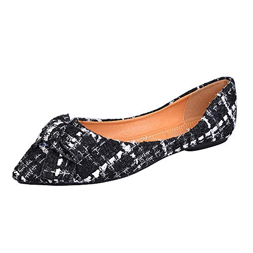 (Meeshine Womens Classic Pointy Toe Ballet Flats Slip On Plaid Dress Flat Shoes (Bow Black US 8.5))