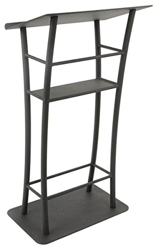 25'' Curved Lectern for Floor, Includes Stationary Shelf, Aluminum & Steel (Black) by Displays2go