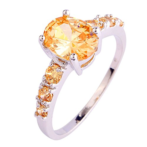 Emsione Women's 925 Silver Plated Oval Creted Morganite Bridal Promise Rings Size 6 to 13 ()