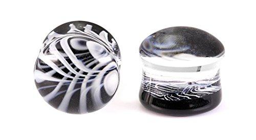 Painful Pleasures Double Flare Black White Glass Plug - 8g - 3/4