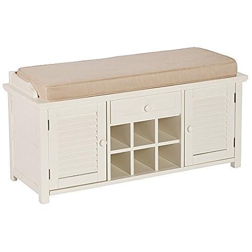 Southern Enterprises Colter Shoe Storage Bench, Antique White Finish - Antique Storage Cabinet: Amazon.com