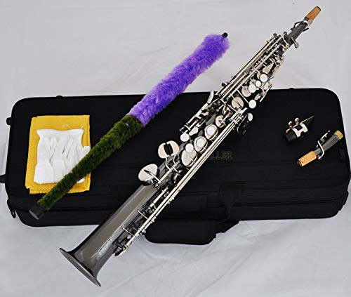 FidgetGear Top Black Nickel Silver Straight Soprano Saxophone Bb sax High F# G keys 2 necks from FidgetGear