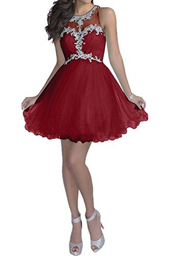 Damen Abiballkleider Dunkel Promkleider Kurzes Braut Tanzenkleider La Marie Abendkleider Rot Cocktailkleider Mini R8xETna
