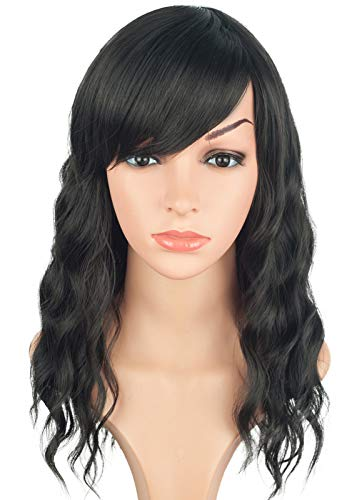 Medium Long Black Wavy Wigs For Women Synthetic Full Hair Natural Black Wigs With Side Bangs For Daily Use 16 Inches (NATURAL - Layers Wig Bangs Synthetic