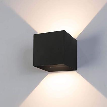 Applique Murale InterieurExterieur 12W,Lampe Murale LED Etanche IP65 Réglable Lampe Up Down Design 3000K Blanc Chaud Appliques Murales pour Salon