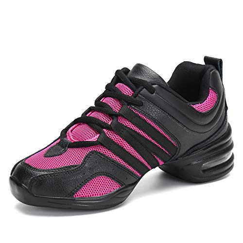 Womens Jazz Shoes Mesh Split Sole Dance Sneakers Ladies Lace Up Ballroom Fitness Dancing Shoe
