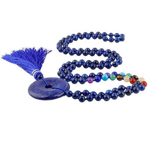 Lapis Donut Lazuli - TUMBEELLUWA 108 Mala Bracelet Stone Necklace Prayer Beads 7 Chakra Meditation Handmade Jewelry for Women,Lapis Lazuli(Donut)