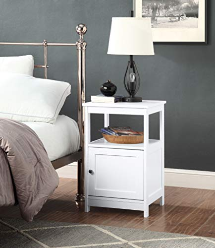 White Finish 2-Tier Nightstand Side End Table Bathroom Rack with Door Cabinet and Open Shelf by RAAMZO