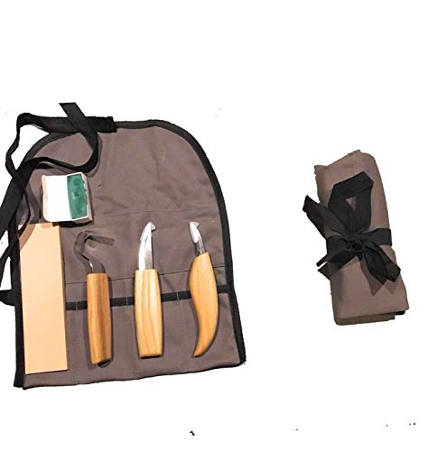 Butternut Wooden Spoon Carving Kit | Everything You Need Plus The Spoon | Set Includes Knives, Leather Strop, Green Buffing Compound, Wooden Blank, and Tool Roll | 7 pcs. ()