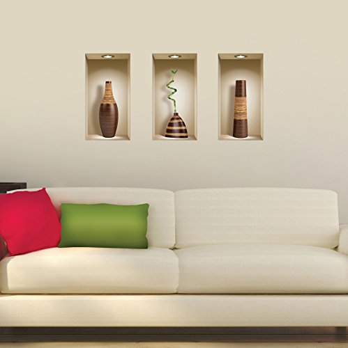 The Nisha Art Magic 3D Vinyl Removable Wall Sticker Decals DIY, Set of 3, Brown Vases by the Nisha (Image #1)