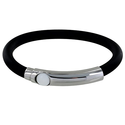 Les Poulettes Jewels - Silver Bracelet White Ball Black Silicone by Les Poulettes Jewels