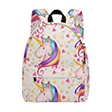 Cute Love Unicorn Zipper Canvas Backpack 14 Inch