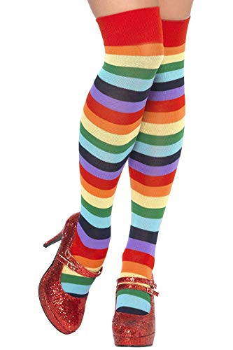 Smiffys Women's Rainbow Knee High Socks, Striped, One Size, Clown Socks,24153 -