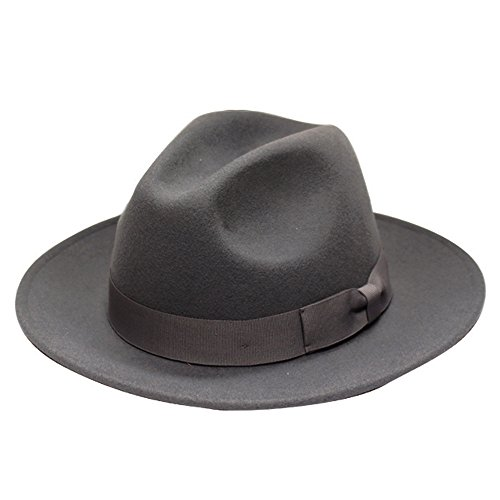 City Hunter Pmw91 Wide Brim Wool Felt Fedora Hat -3 Colors (Small-Medium, 91N GRAY) (Felt Fedora Hats)