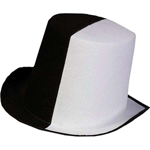 Half Black White Top Hat Coachman Halloween Costume Accessory Prop Adult Men's