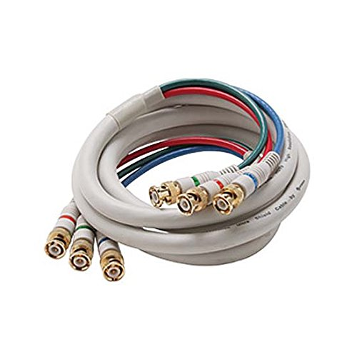 25' FT BNC Component Cable RGB Ivory 3 Male to 3 Male HDTV Video Double Shielding Python HDTV 3-BNC to 3-BNC Male 75 Ohm Gold Y/Pr/Pb Pro Grade Color Coded Digital Signal Jumper