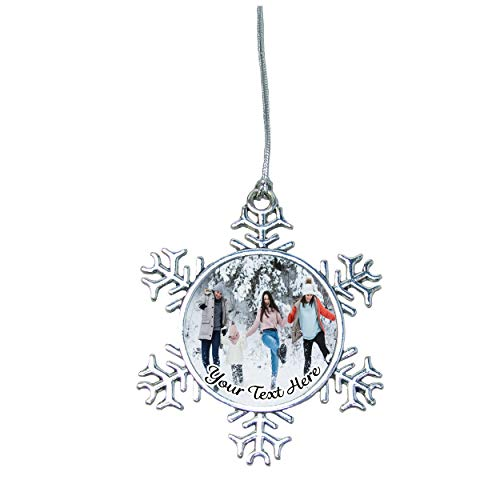 (Christmas Winter Snowflake Ornament Silver Plated Metal Gift Keepsake Decoration Choose Your Text Upload Your Photo)