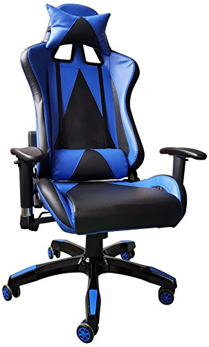 Executive Swivel Video Game Chair Racing Style High Back Lumbar Support And Headrest - BLUE EBS