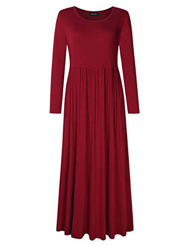 Pockets Size Plus Sleeve Dress 3 Floral AMZ PLUS Maxi 4 Red Women Bohemian Wine g4xPq6