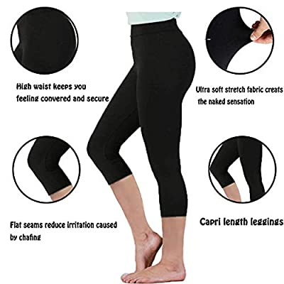 Gnpolo Womens Black High Waisted Leggings Pack Soft Slim Tummy Control Trousers Yoga Pants at Women's Clothing store