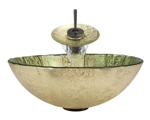 Sink Oil Rubbed Bronze Ring and Waterfall Faucet Foil Undertone Glass Vessel Aurora Sinks A16-ORB-V Bathroom Ensemble with Pop Up Drain