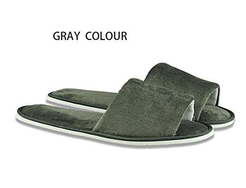 Pantofole per aprire le dita Hotel Camere Forniture per club per pantofole non usa e getta Taglia velluto Spessore Non scivolare Home Hospitality 5 Pz , grey ,
