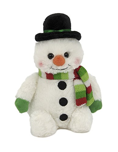 Bearington Snowball Plush Stuffed Animal Snowman with Scarf, 6 inches -