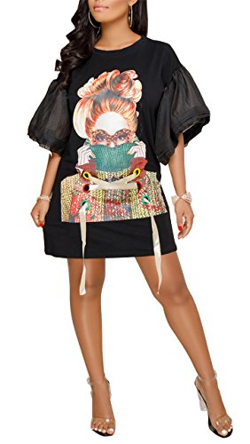 Speedle Womens Casual Short Puff Sleeve Digital Graffiti Print Loose Tunic T-Shirt Mini Dress Black M