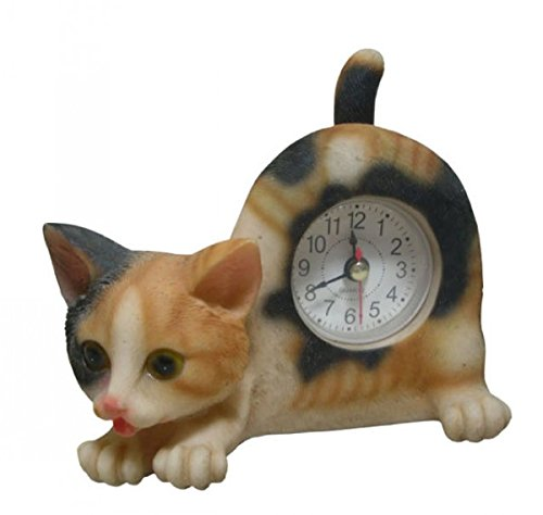 Wagging Table Clock - AIE GF66 Small Calico Cat Desk Clock with Wagging Tail