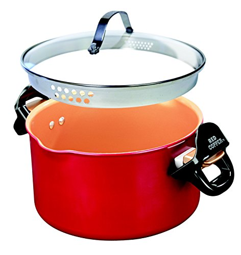 Red Copper Better Pasta Pot by BulbHead, Locking Handles and Straining Lid