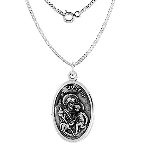 Sterling Silver Joseph Medal Necklace