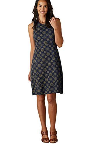 Fair Indigo Fair Trade Organic Halter Dress (M, Midnight Mandala)