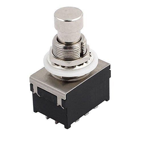 eDealMax 12mm de rosca 12-Pin a travs del botn Agujero 3PDT bloqueo Redonda de Metal de la guitarra elctrica del interruptor de Pie del Pedal