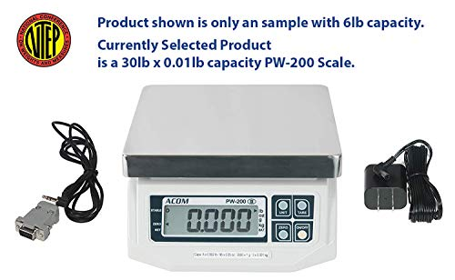 Control Digital Scale - ACOM PW-200 Digital POS Interface Portion Control Scale with Most ECR's and POS Systems, Lb/Oz/Kg/g Switchable, Low Profile Design, 30lb Capacity, 0.01lb Readability, Dual Display,NTEP Legal for Trade