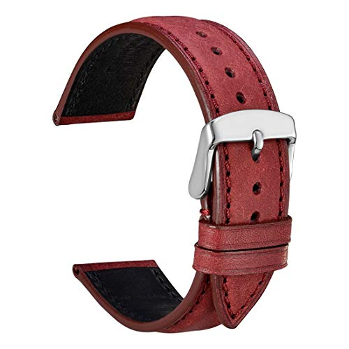 (WOCCI 18mm Nubuck Leather Watch Band,Unisex Casual Wristwatch Strap (Wine Red/Red Stitching))