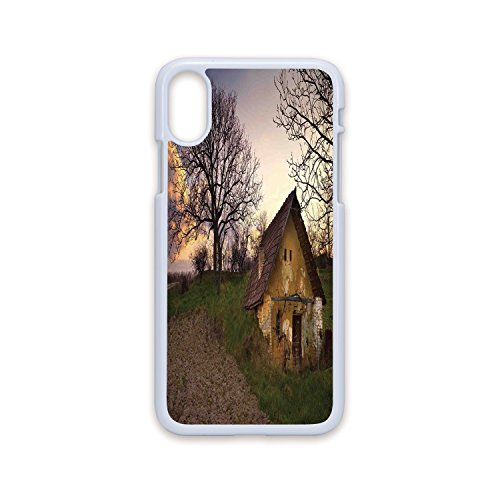 Phone Case Compatible with iPhone X White Edge 2D Print,Rustic Home Decor,Battered Stone House in Field Messy Shed Building Provincial Pastoral Concept,Multi,Hard Plastic Phone Case
