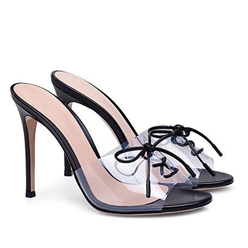 Stiletto Bowtie Up High Shoes Criss Heel Slip Ubeauty Womens Cross Court Black Peep Toe Sandals On Lace Zgq0Fx6