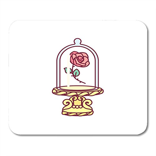 Boszina Mouse Pads Cute Blooming Rose Under Flask Glass Golden Stand Red Eternal Flower Royal Luxury Fairy Symbol Beauty Mouse Pad for notebooks,Desktop Computers mats 9.5