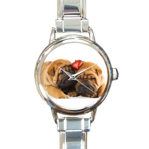Friends/Sisters Gifts Cute Shar-pei Dogs With Heart Women's Round Italian Charm Watch Dogs Womans Italian Charms Watches