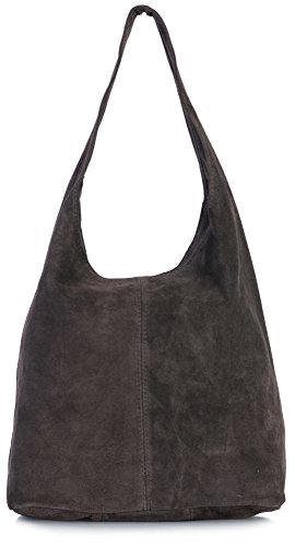 LiaTalia Womens Large Italian Suede Leather Single Shoulder Strap Hobo Slouch Bag with Storage Bag - Shay [Coffee]