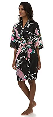 Dingwangyang Women's Peacock Print Half Sleeve Silk Kimono Bridesmaid Robe Nightgown