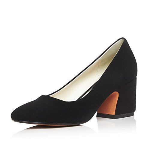 VogueZone009 Women's Pull On Kitten Heels Blend Materials Solid Square Closed Toe Pumps Shoes Black
