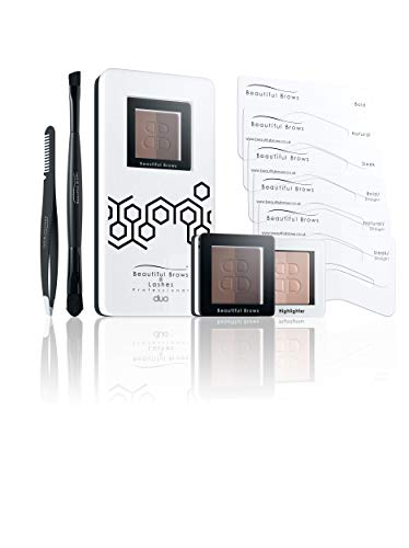 Beautiful Brows Duo 13 Piece Eyebrow Stencil Kit - 6 Brow Stencils,1 Duo Brow Powder (Light/Medium Brown),1 Duo Applicator and Volumizing Brush,1 Duo Highlighter (Shimmer/Matte) with Brush,Precision Tip Tweezers with Brow Brush,Compact Magnifying Mirror