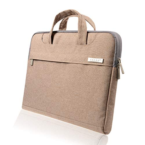 CERRO 13.3 14 inch Water-Resistant Canvas Fabric Laptop Sleeve/Notebook Computer Case/Ultrabook Briefcase Carrying Bag (14 Inch, Brown)